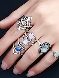 Mulheres Anel Circular Moda Rock Multi-maneiras Wear Liga de Metal Resina Strass Liga Formato Circular Forma Redonda Jóias Para