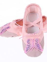 Women's Kids' Dance Shoes Canvas Fabric Flat Practice White Red Blushing Pink
