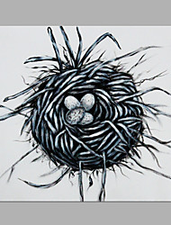 IARTS® Hand Painted Modern Abstract Bird Nest With Eggs White Oil Painting On Canvas with Stretched Frame Wall Art For Home Decoration Ready To Hang