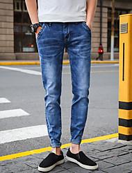Men's Mid Rise Micro-elastic Skinny Jeans Pants,Street chic Simple Slim Solid