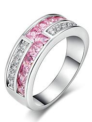 Damen Ring Strass Kubikzirkonia Kreisförmiges Elegant bezaubernd Platin Kubikzirkonia Runde Form Schmuck FürHochzeit Party Verlobung