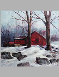 IARTS® Hand Painted Abstract Oil Painting Vintage Style Winter Snow Woody House with Stretched Frame For Home Decoration Ready To Hang