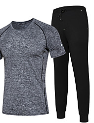 Men's Running T-Shirt with Pants Moisture Wicking Quick Dry Running Clothing Suits for Running/Jogging Exercise & Fitness Coolmax