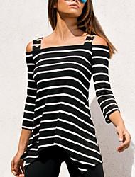 Damen Gestreift Einfach Niedlich Ausgehen Lässig/Alltäglich T-shirt,Gurt Frühling Sommer 3/4 Ärmel Baumwollmischung Mittel