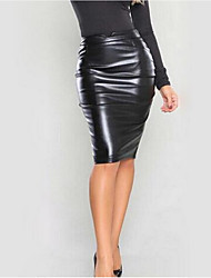 Women's Casual/Daily Knee-length Skirts,Simple Bodycon Solid Fall Winter