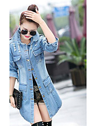 Women's Casual/Daily Simple Fall Trench Coat,Solid Shirt Collar Long Sleeve Long Acrylic