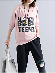 Damen Druck Street Schick Ausgehen T-shirt,Rundhalsausschnitt 3/4 Ärmel Andere