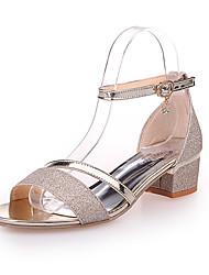 Damen Sandalen Club-Schuhe PU Frühling Sommer Normal Kleid Club-Schuhe Schnalle Keilabsatz Gold Silber 10 - 12 cm