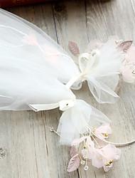 Véus de Noiva Uma Camada Véu Ponta dos Dedos Borda Lápis Tule