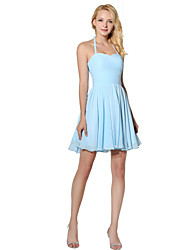 Princess Halter Short / Mini Chiffon Bridesmaid Dress with Side Draping