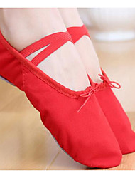 Women's Ballet Canvas Fabric Flats Practice Ruby Black White
