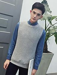 Standard Pullover Da uomo-Quotidiano Casual Semplice Moda città Tinta unita Rotonda Manica lunga Cotone Maglia Primavera AutunnoMedio