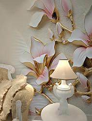 3D Estampado Flor Fondo de pantalla Para el hogar Clásico Revestimiento de pared , Lienzo Material adhesiva requerida Mural ,