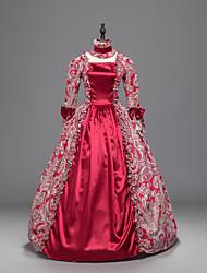 Festa a Fantasia Gótica Vitoriano padrão Vestido Cosplay Vestidos Lolita Vermelho Estampado Manga 3/4 Mimolet Vestido ParaTecido