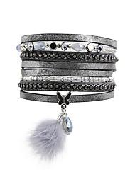 Dame Wrap Armbånd Læder Armbånd luksus smykker Læder Akryl Rhinsten Imitation Diamond Legering Dyreformet Dråbe Sommerfugl Grå Smykker For