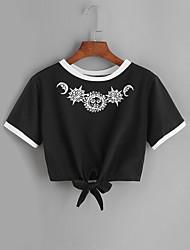 Tee-shirt Femme,Couleur Pleine GéométriqueQuotidien Décontracté Sport de détente Plein Air Sortie Décontracté / Quotidien Athleisure
