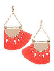Fahion Women Boho Oversized Fan Shape Metal  Tassel Drop Earrings