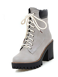 Women's Boots Ankle Strap Leatherette Fall Winter Casual Party & Evening Dress Ankle  Chunky Heel PlatformBrown Gray Beige