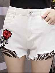 Women's Mid Rise Inelastic Jeans Shorts Pants,Street chic Straight Mesh Embroidered Embroidery