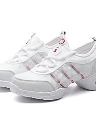Women's Dance Sneakers PU Flats Heels Practice Black White