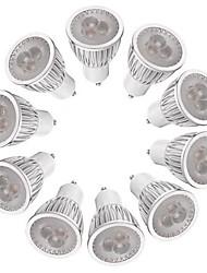 3W Spot LED MR16 3 LED Haute Puissance 260-300 lm Blanc Chaud Blanc Intensité Réglable AC 100-240 V 10 pièces