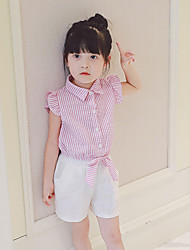 Girl's Fashion And Lovely Embroidery Temperament Lovely Stripe Fly Sleeve Waist Shirt Jacket White Shorts Two-Piece