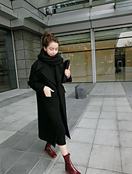 Women's Casual/Daily Casual Fall Winter Coat,Solid Stand Long Sleeve Regular Polyester