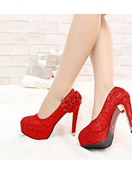 Feminino Saltos Conforto Plataforma Básica Pele Real Primavera Inverno Casual Vermelho 10 a 12 cm