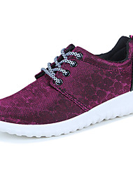 Femme Chaussures d'Athlétisme Confort Polyuréthane Printemps Automne Athlétique Marche Confort Lacet Talon Plat Noir Gris Violet Plat