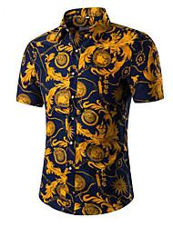 Masculino Camisa Social Casual Trabalho Simples Sólido Algodão Outros Colarinho de Camisa Manga Curta