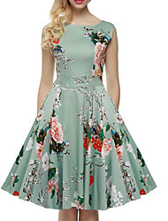 Women's Holiday Going out Casual/Daily Vintage Street chic A Line Dress,Floral Round Neck Knee-length Sleeveless Cotton Polyester Others