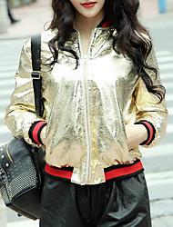 Для женщин Повседневные Весна Кожаные куртки Круглый вырез,Современный С принтом Короткая Длинный рукав,Другое