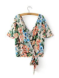 Для женщин На выход На каждый день Лето Блуза V-образный вырез,Секси Простое Уличный стиль Цветочный принт С короткими рукавами,Хлопок,