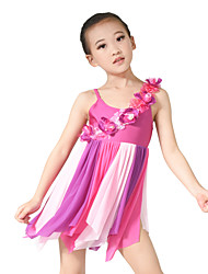 MiDee Ballet Dresses Women's Children's Performance Lycra Pleated Flower(s) Sleeveless High