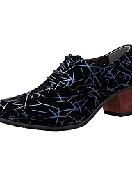 Men's Oxfords Formal Shoes Novelty PU Leather Spring Fall Party & Evening Formal Shoes Novelty Lace-up Low Heel Chunky HeelBlue Green