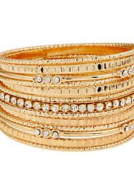 Femme Bracelets Rigides Manchettes Bracelets Mode Style Punk Pierre Alliage de fer Alliage de métal Strass Alliage Forme de Cercle Bijoux