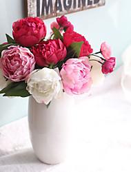 1 Branch Plastic Peonies Plants Tabletop Flower Artificial Home Furnishing Decoration Wedding Supplies 9 Head