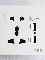 Type 86  USB*2 Power Outlet 2 Bit 3 Bit Switch  White