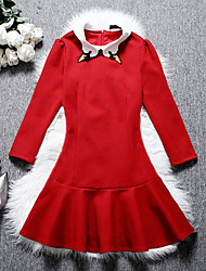 Women's Going out A Line Dress,Solid Shirt Collar Above Knee Long Sleeve Cotton Fall High Rise Inelastic Medium