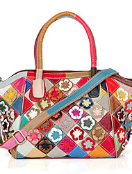 Women Bags All Seasons Cowhide Tote with Flower Plaid Split Joint Petals for Casual Rainbow