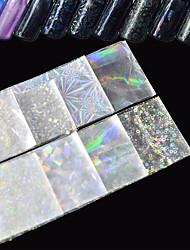 8pcs/Set 20*4cm Transparent Laser Nail Art Transfer Foil Stickers Glitter Broken Glass Starry Decal White Shining  DIY Nail Tips Starlight Decorations