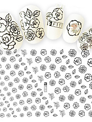 1pcs Nail Art 3D Sticker Beautiful Flower Black Design Decoration Manicure DIY Art Charming Decals F111