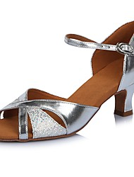 2017 Classic Brand Modern Latin Sandals Customizable Women's Dance Shoes  Heel-Height 6.5CM shoes Glitter Leather Silver