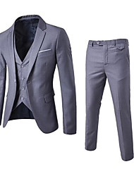 Men's Work Party/Cocktail Simple Fall Suit,Solid Peaked Lapel Long Sleeve Regular Polyester