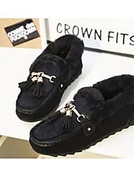 Для женщин На плокой подошве Удобная обувь Туфли лодочки Шерсть Ткань Полиуретан Осень Зима Повседневные Черный Красный 9,5 - 12 см