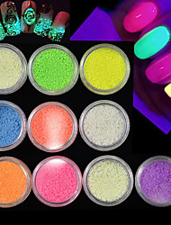 10Bottles/Set Hot Fashion Lovely Candy Colors Glitter Sand Powder Fluorescence Effect Powder Glow In Dark Nail Beauty DIY Sparkling Decoration A1-10