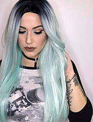 Popular Ombre Mint Green Color  Middle Part Long Straight Hair European Synthetic Wigs For Women Wig