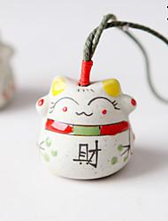 Sac / téléphone / porte-clés charme chat dessin animé jouet céramique style chinois