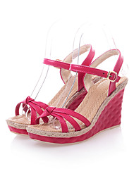 Women's Sandals Basic Pump Summer PU Wedding Dress Party & Evening Office & Career Buckle Split Joint Wedge Heel Yellow Ruby Blue