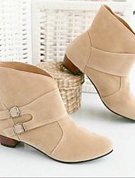 Mujer Zapatos PU Invierno Botas de Moda Botas Tacón Plano Botines/Hasta el Tobillo Con Para Casual Negro Beige Marrón Rojo Rosa
